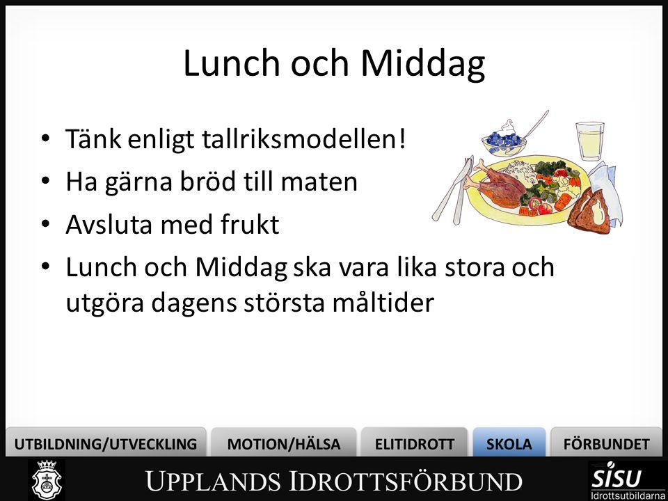 Lunch och Middag • Tänk enligt tallriksmodellen! • Ha gärna bröd till maten • Avsluta med frukt • Lunch och Middag ska vara lika stora och utgöra dage