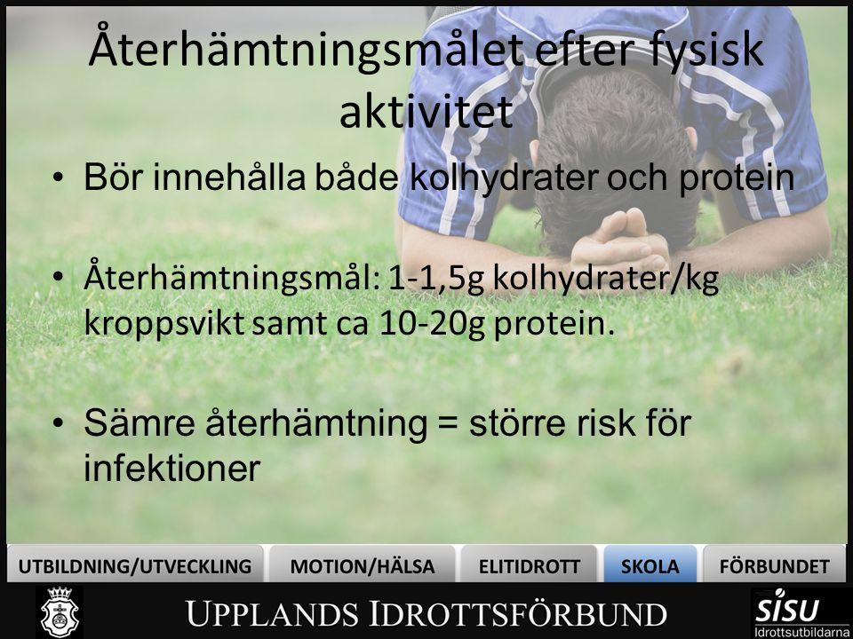 Under/efter träningKolhydrater (gram)Protein (gram) 1 litet paket (40 g) russin301 2,5 dl fruktyoghurt307,5-9 1 flaska (3,5 dl) drickyoghurt 4010,5 3 dl nypon-/blåbärssoppa300,5 5 dl sportdryck300 1 Risifrutti Orginal/ + låglaktos355 1 Risifrutti XL407 1 Mannafrutti304 1 banan251 1 portion gröt (1 dl gryn)255 1 dl cornflakes404 2 dl mjölk/ fil/yoghurt naturell 107 1 fralla med ost och skinka3012 1 Pucko (3 dl) /chokladdryck3010,5