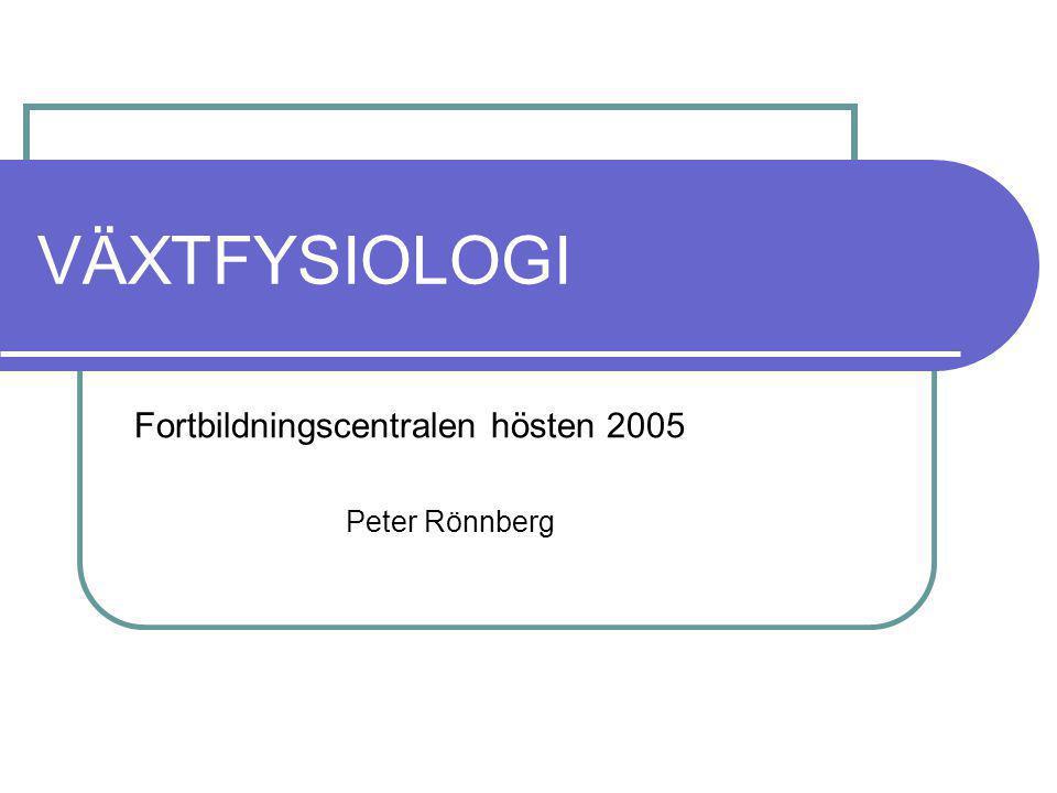 VÄXTFYSIOLOGI Fortbildningscentralen hösten 2005 Peter Rönnberg