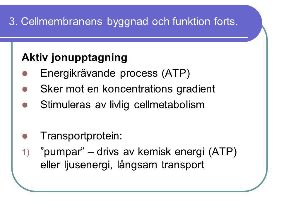 3. Cellmembranens byggnad och funktion forts. Aktiv jonupptagning  Energikrävande process (ATP)  Sker mot en koncentrations gradient  Stimuleras av