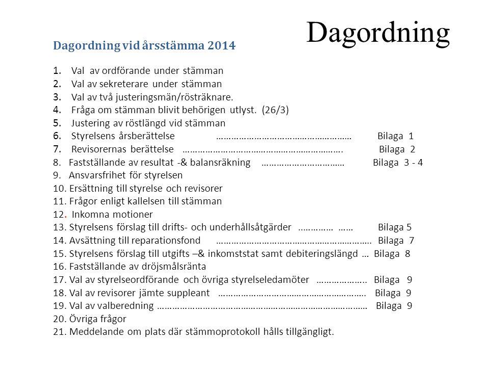 Styrelsens årsberättelse Bil 1.