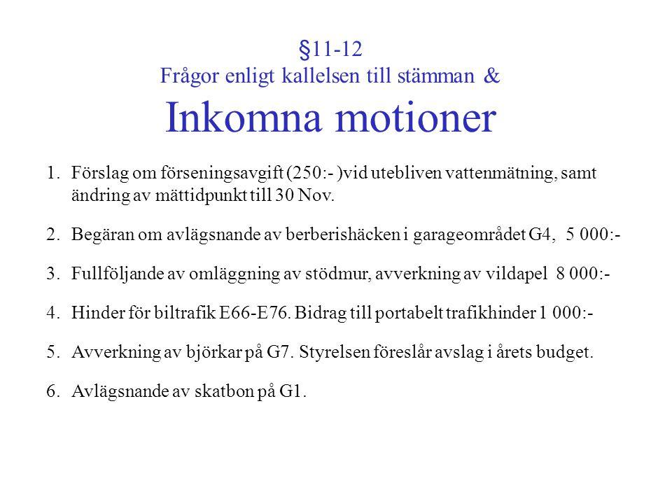 §11-12 Frågor enligt kallelsen till stämman & Inkomna motioner 1.Förslag om förseningsavgift (250:- )vid utebliven vattenmätning, samt ändring av mätt