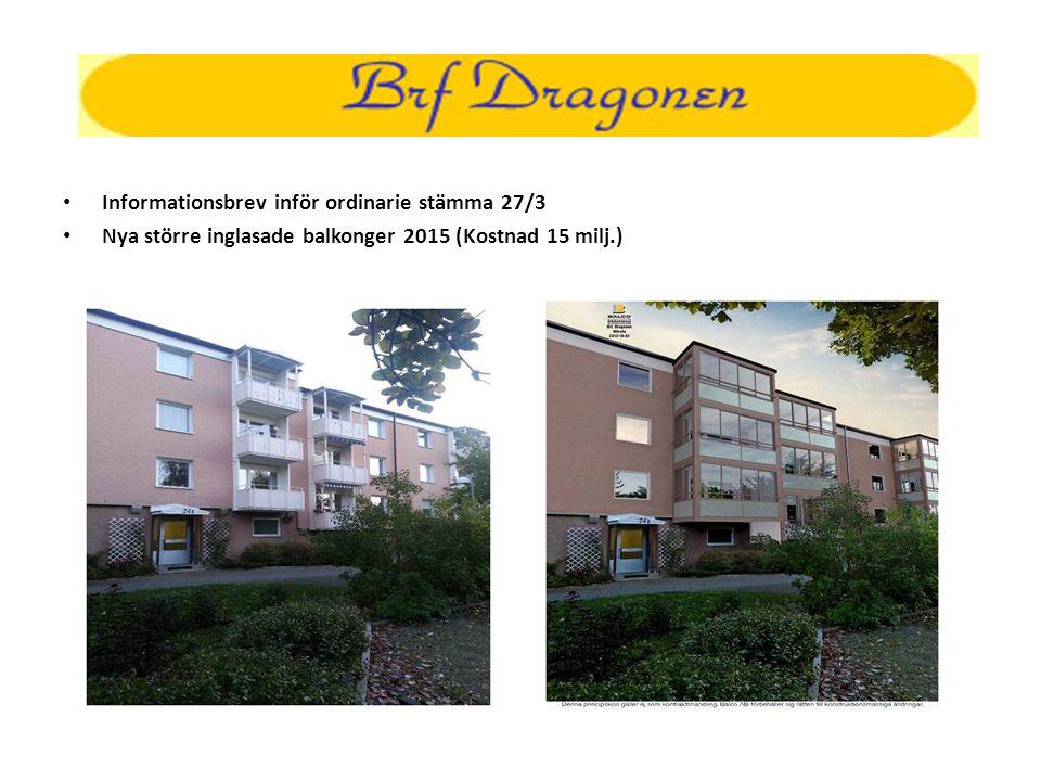 • Informationsbrev inför ordinarie stämma 27/3 • Nya större inglasade balkonger 2015 (Kostnad 15 milj.)