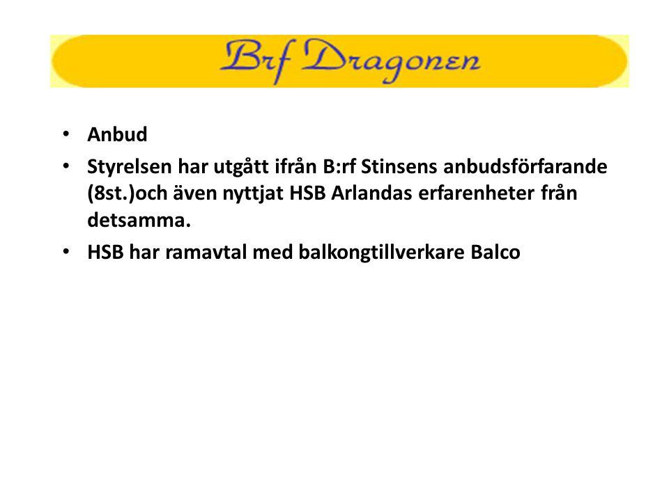 • Anbud • Styrelsen har utgått ifrån B:rf Stinsens anbudsförfarande (8st.)och även nyttjat HSB Arlandas erfarenheter från detsamma. • HSB har ramavtal