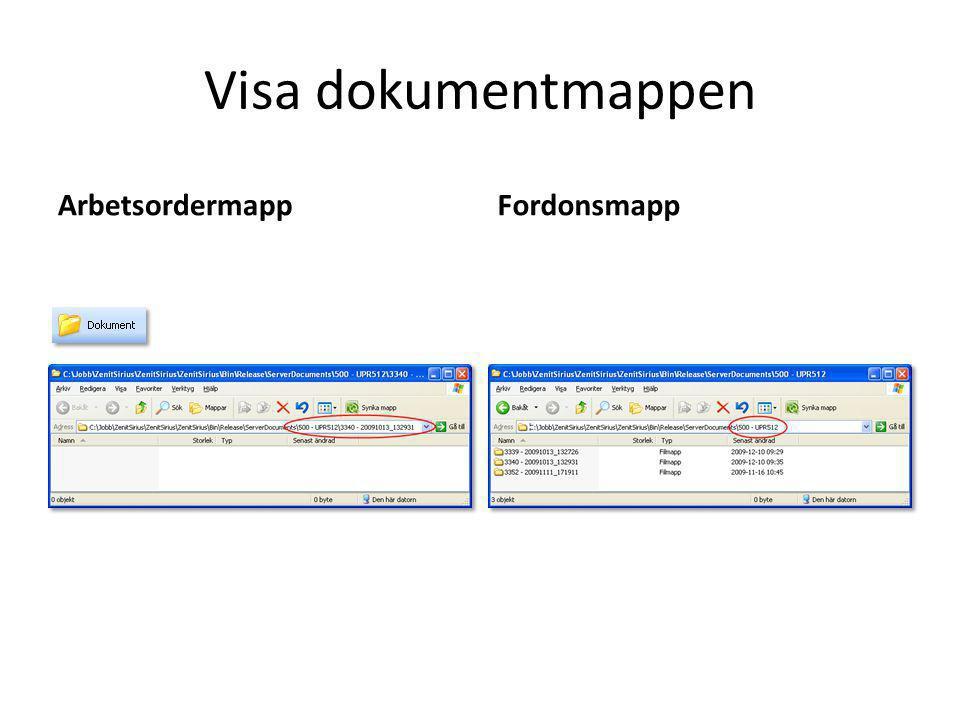 Visa dokumentmappen ArbetsordermappFordonsmapp