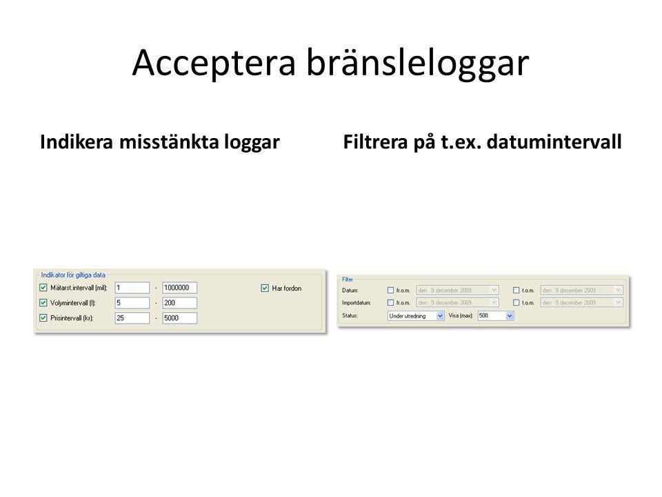Indikera misstänkta loggarFiltrera på t.ex. datumintervall