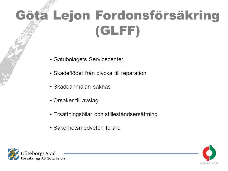 Göta Lejon Fordonsförsäkring (GLFF) • Gatubolagets Servicecenter • Skadeflödet från olycka till reparation • Skadeanmälan saknas • Orsaker till avslag