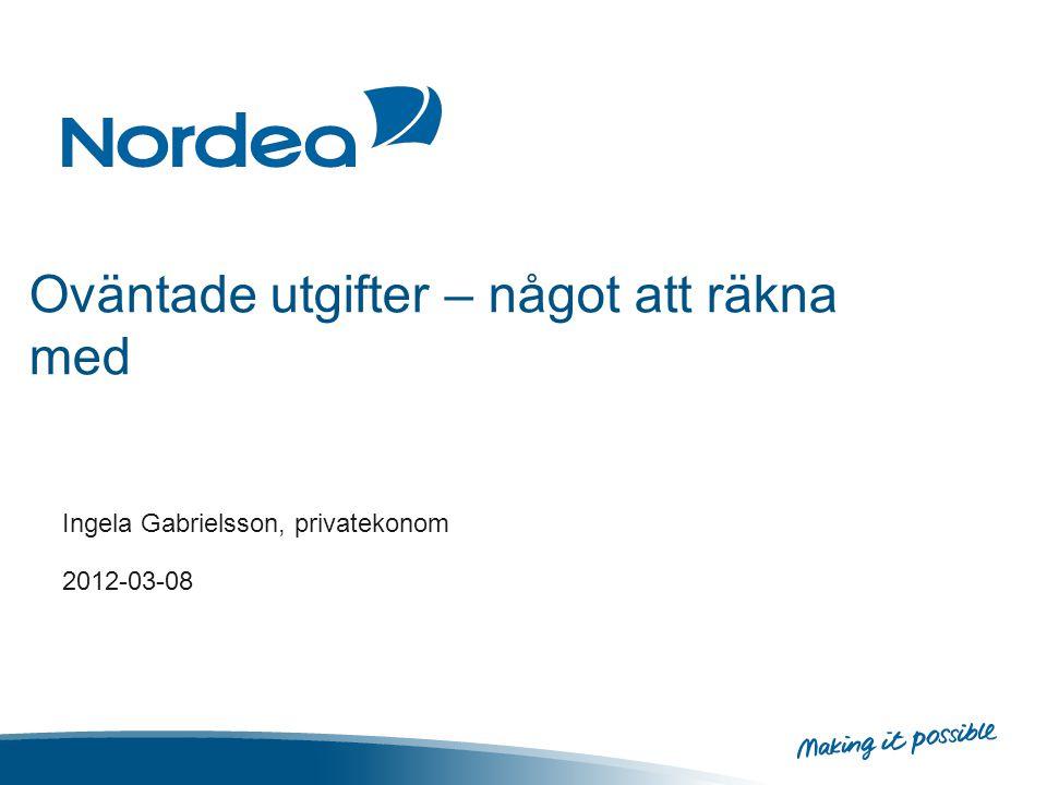 Oväntade utgifter – något att räkna med Ingela Gabrielsson, privatekonom 2012-03-08