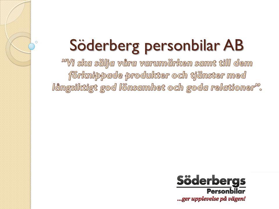 Mål och målpåverkande faktorer  Söderberg personbilar AB står för 25,7% av försäljning av nya bilar i Norrköping  2011 såldes 3040 bilar  2012 såldes ca 2900 bilar, varav 1685 var nya bilar  Målet för 2013 är att nå 30% marknadsandel  tack vare Volkswagen satsning att ta stora marknadsandelar av Volvo Hot från nya aktörer  Andra aktörer kommer med differentierad attraktiv produkt  Andra aktörer börjar sälja samma bilmärken som Söderberg personbilar AB  Konkurrenter erbjuder bättre service och kostnader