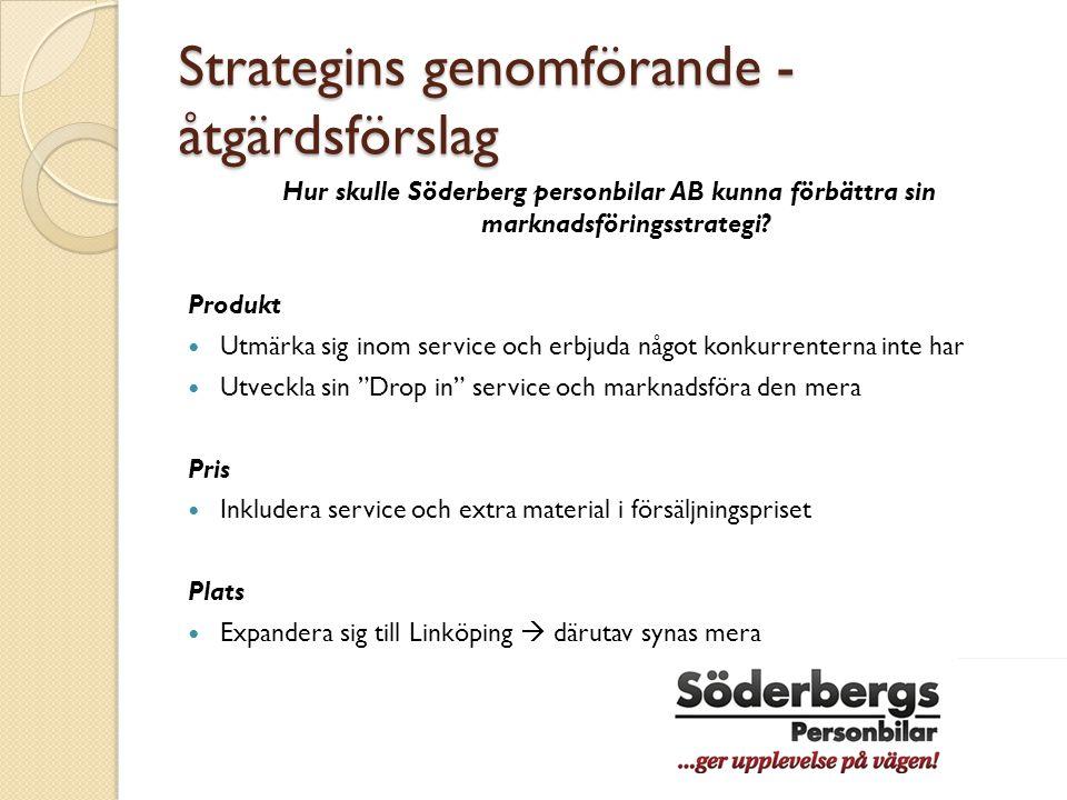 Strategins genomförande - åtgärdsförslag Hur skulle Söderberg personbilar AB kunna förbättra sin marknadsföringsstrategi? Produkt  Utmärka sig inom s