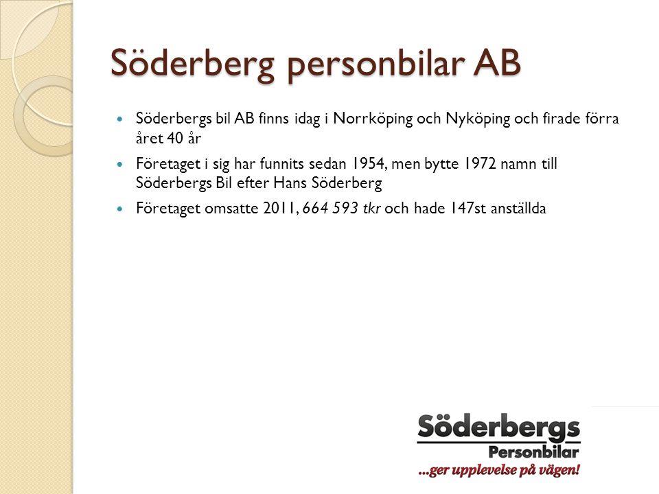 Söderberg personbilar AB  Söderbergs bil AB finns idag i Norrköping och Nyköping och firade förra året 40 år  Företaget i sig har funnits sedan 1954