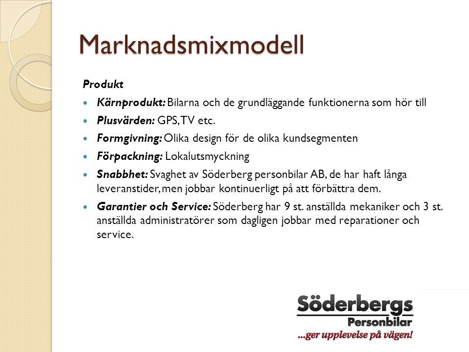 Marknadsmixmodell Produkt  Kärnprodukt: Bilarna och de grundläggande funktionerna som hör till  Plusvärden: GPS, TV etc.  Formgivning: Olika design