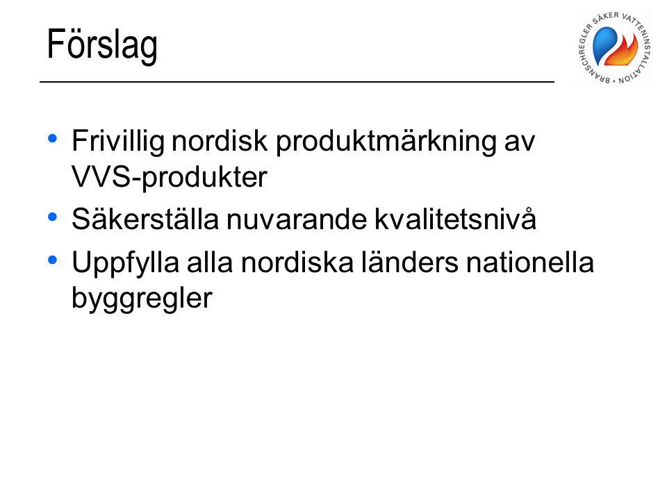 Förslag • Frivillig nordisk produktmärkning av VVS-produkter • Säkerställa nuvarande kvalitetsnivå • Uppfylla alla nordiska länders nationella byggreg