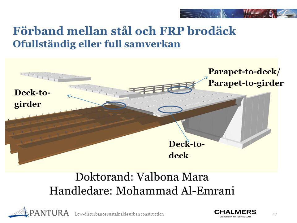 Low-disturbance sustainable urban construction 17 Förband mellan stål och FRP brodäck Ofullständig eller full samverkan Deck-to- deck Deck-to- girder Parapet-to-deck/ Parapet-to-girder Doktorand: Valbona Mara Handledare: Mohammad Al-Emrani
