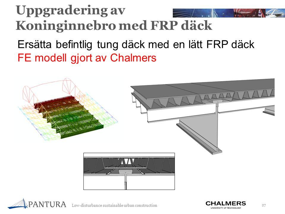 Low-disturbance sustainable urban construction 27 Uppgradering av Koninginnebro med FRP däck Ersätta befintlig tung däck med en lätt FRP däck FE modell gjort av Chalmers