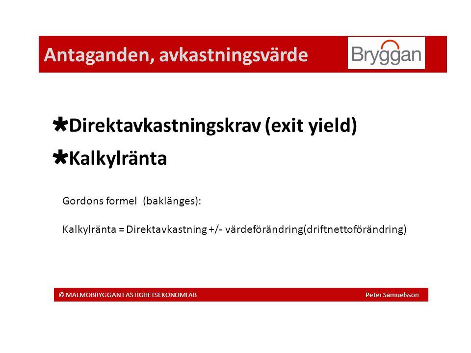 Antaganden, avkastningsvärde © MALMÖBRYGGAN FASTIGHETSEKONOMI AB Peter Samuelsson  Direktavkastningskrav (exit yield)  Kalkylränta Gordons formel (baklänges): Kalkylränta = Direktavkastning +/- värdeförändring(driftnettoförändring)