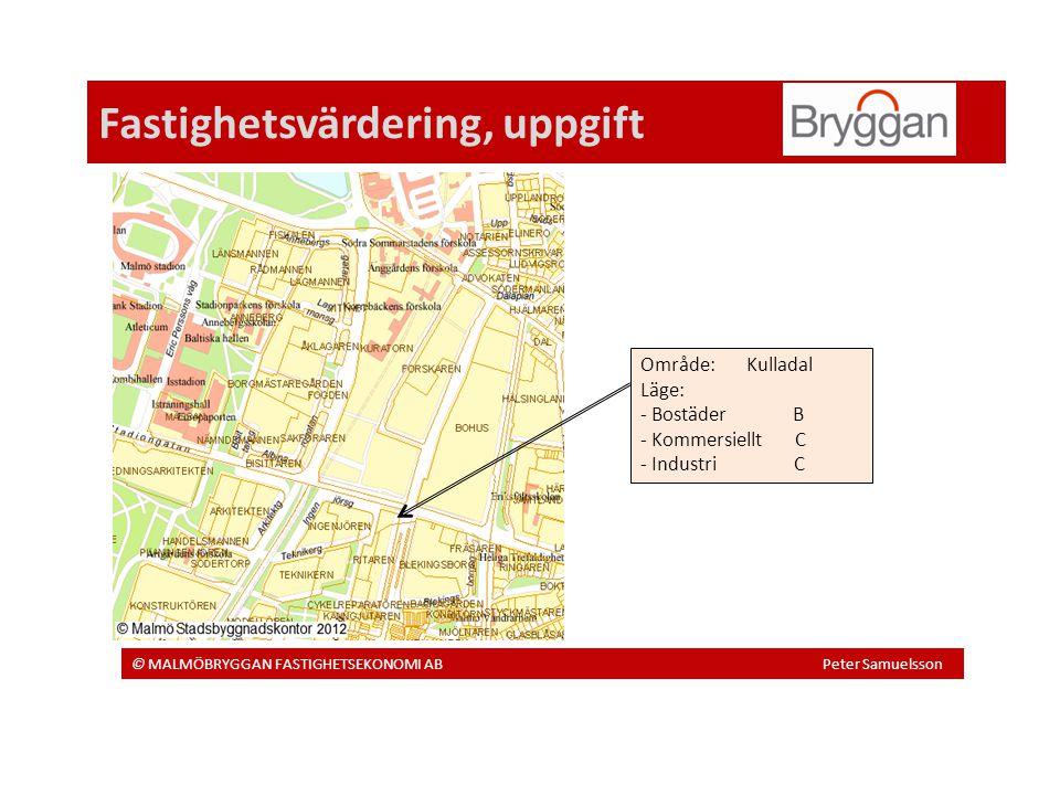 Fastighetsvärdering, uppgift © MALMÖBRYGGAN FASTIGHETSEKONOMI AB Peter Samuelsson Område: Kulladal Läge: - Bostäder B - Kommersiellt C - Industri C