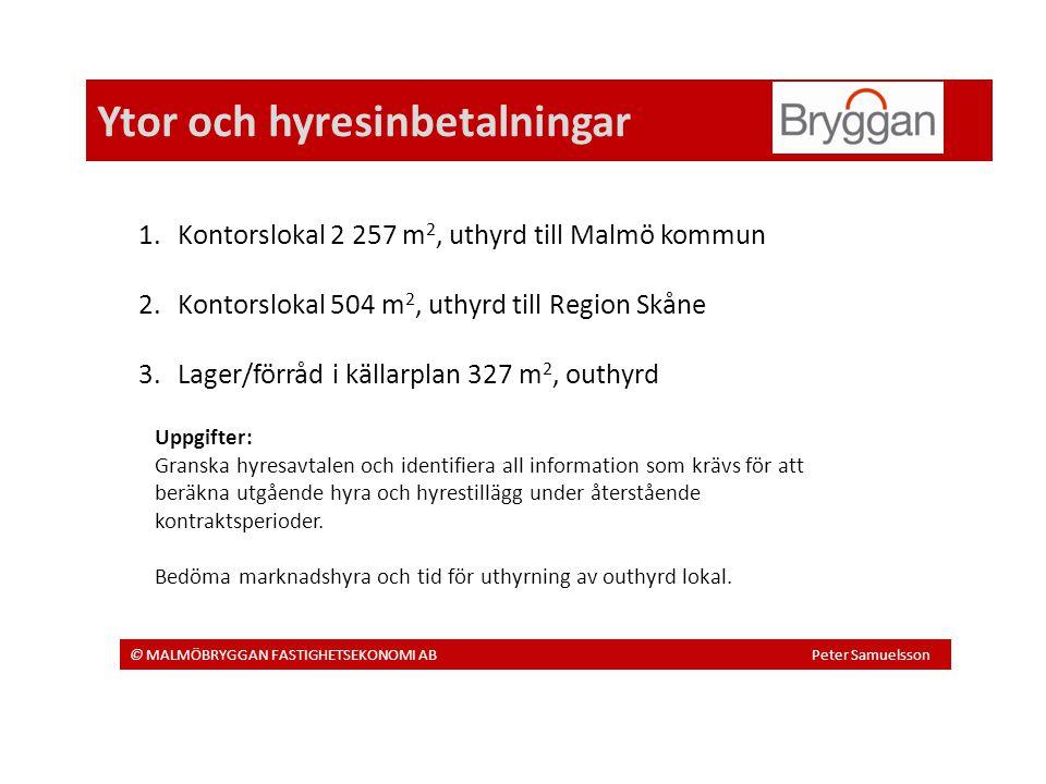 Ytor och hyresinbetalningar © MALMÖBRYGGAN FASTIGHETSEKONOMI AB Peter Samuelsson 1.Kontorslokal 2 257 m 2, uthyrd till Malmö kommun 2.Kontorslokal 504 m 2, uthyrd till Region Skåne 3.Lager/förråd i källarplan 327 m 2, outhyrd Uppgifter: Granska hyresavtalen och identifiera all information som krävs för att beräkna utgående hyra och hyrestillägg under återstående kontraktsperioder.