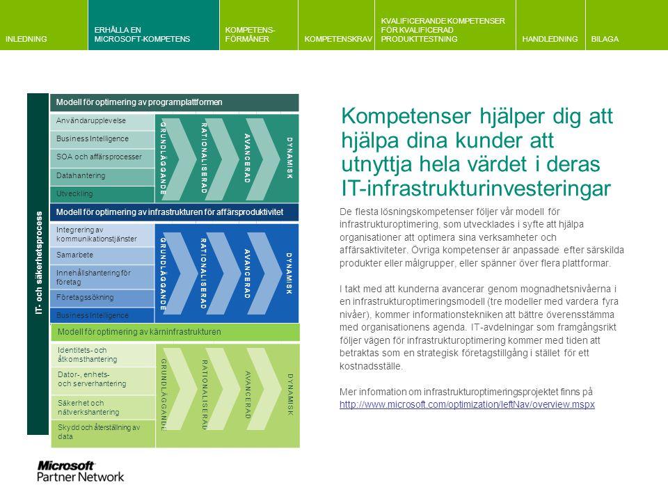 INLEDNING ERHÅLLA EN MICROSOFT-KOMPETENS KOMPETENS- FÖRMÅNERKOMPETENSKRAV KVALIFICERANDE KOMPETENSER FÖR KVALIFICERAD PRODUKTTESTNINGHANDLEDNINGBILAGA Information om kvalificeringskrav Gemensam information om krav relaterade till Microsoft och partnerplan Information om företagsutvärderingar Information om krav på kundreferenser Kravrelaterad information Huvudprodukter och relaterad kompetens Förändringar i kompetensstrukturen Kravrelaterad information För att erhålla en guld- eller silverkompetens måste du fylla i en komplett profil och uppdatera den varje år.