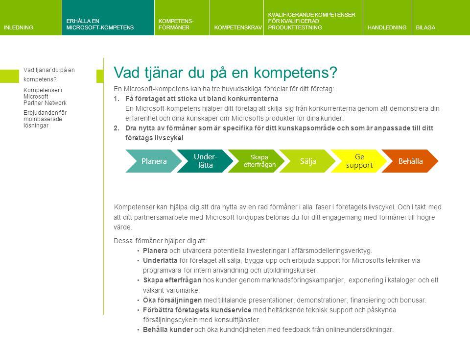INLEDNING ERHÅLLA EN MICROSOFT-KOMPETENS KOMPETENS- FÖRMÅNERKOMPETENSKRAV KVALIFICERANDE KOMPETENSER FÖR KVALIFICERAD PRODUKTTESTNINGHANDLEDNINGBILAGA Information om kvalificeringskrav Gemensam information om krav relaterade till Microsoft och partnerplan Information om företagsutvärderingar Information om krav på kundreferenser Kravrelaterad information Huvudprodukter och relaterad kompetens Förändringar i kompetensstrukturen Huvudprodukter och relaterad kompetens Fokusområde: Ad Center Biz Talk Server Dynamics CRM Dynamics ERP Exchange Server FAST Search Server Microsoft ForefrontMaskinvara Application Development Application Integration  Application Lifecycle Management Business Intelligence Collaboration and Content  Communications CRM  Data Platform Devices and Deployment Digital Marketing  Distributor ERP  Hosting   Identity and Access  Learning Management and Virtualization Messaging  Midmarket Solution Provider  Mobility  OEM Project and Portfolio Management Server Platform Small Business Software Asset Management Volume Licensing Kompetens endast via inbjudan Microsoft Certified Trainer som erbjuder Microsoft Official Courseware (MOC)