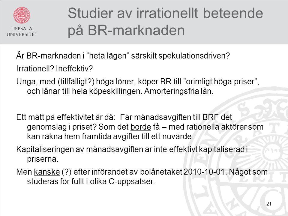 Studier av irrationellt beteende på BR-marknaden Är BR-marknaden i heta lägen särskilt spekulationsdriven.