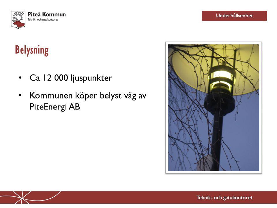 Belysning Teknik- och gatukontoret • Ca 12 000 ljuspunkter • Kommunen köper belyst väg av PiteEnergi AB Underhållsenhet