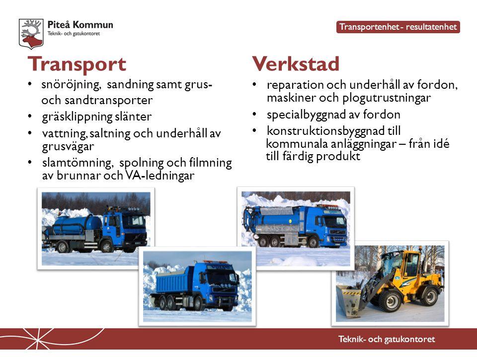 Teknik- och gatukontoret Transport • snöröjning, sandning samt grus- och sandtransporter • gräsklippning slänter • vattning, saltning och underhåll av