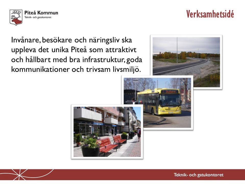 Teknik- och gatukontoret Verksamhetsidé Invånare, besökare och näringsliv ska uppleva det unika Piteå som attraktivt och hållbart med bra infrastruktu