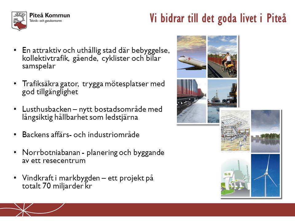 Vi bidrar till det goda livet i Piteå • En attraktiv och uthållig stad där bebyggelse, kollektivtrafik, gående, cyklister och bilar samspelar • Trafik