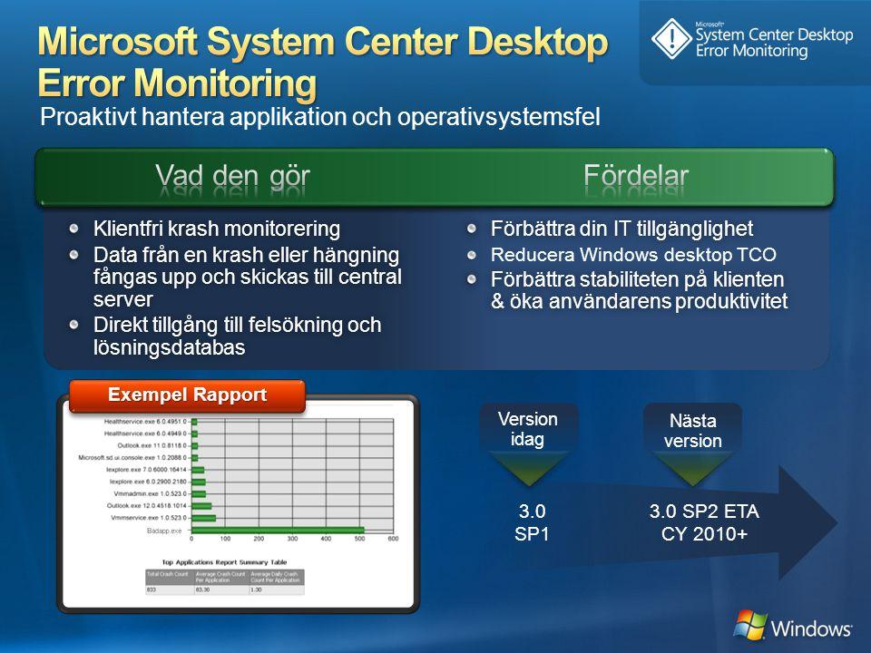 Proaktivt hantera applikation och operativsystemsfel 3.0 SP2 ETA CY 2010+ Nästa version 3.0 SP1 Version idag Förbättra din IT tillgänglighetFörbättra din IT tillgänglighet Reducera Windows desktop TCO Förbättra stabiliteten på klienten & öka användarens produktivitet Klientfri krash monitoreringKlientfri krash monitorering Data från en krash eller hängning fångas upp och skickas till central server Direkt tillgång till felsökning och lösningsdatabas Exempel Rapport
