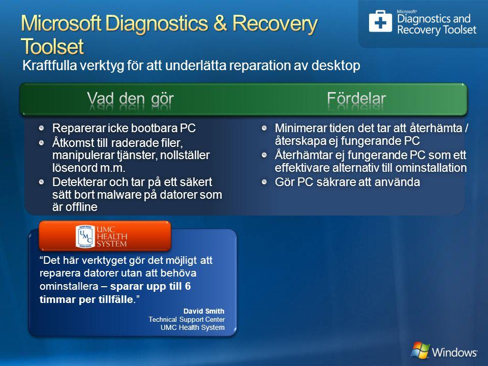 Kraftfulla verktyg för att underlätta reparation av desktop Det här verktyget gör det möjligt att reparera datorer utan att behöva ominstallera – sparar upp till 6 timmar per tillfälle. Minimerar tiden det tar att återhämta / återskapa ej fungerande PC Återhämtar ej fungerande PC som ett effektivare alternativ till ominstallation Gör PC säkrare att användaGör PC säkrare att använda Reparerar icke bootbara PCReparerar icke bootbara PC Åtkomst till raderade filer, manipulerar tjänster, nollställer lösenord m.m.