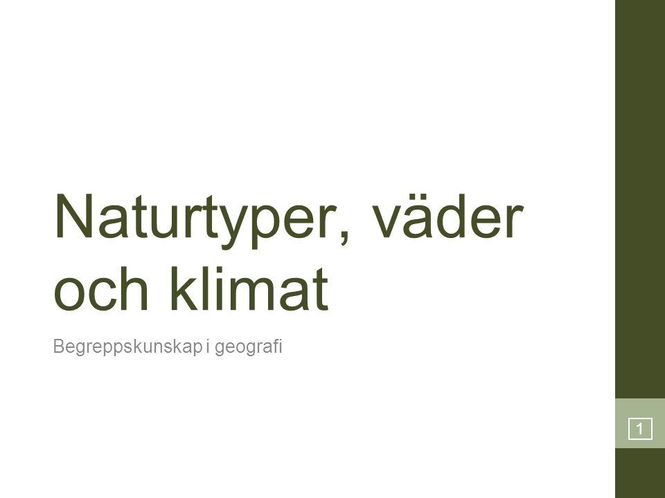 1 Naturtyper, väder och klimat Begreppskunskap i geografi