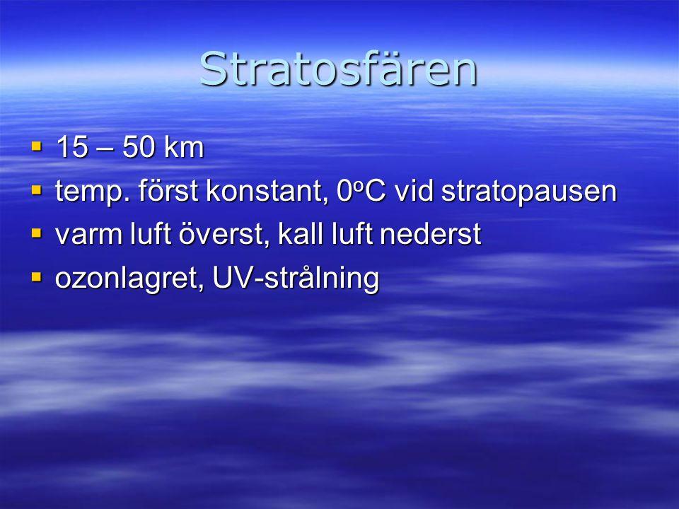 Stratosfären  15 – 50 km  temp. först konstant, 0 o C vid stratopausen  varm luft överst, kall luft nederst  ozonlagret, UV-strålning
