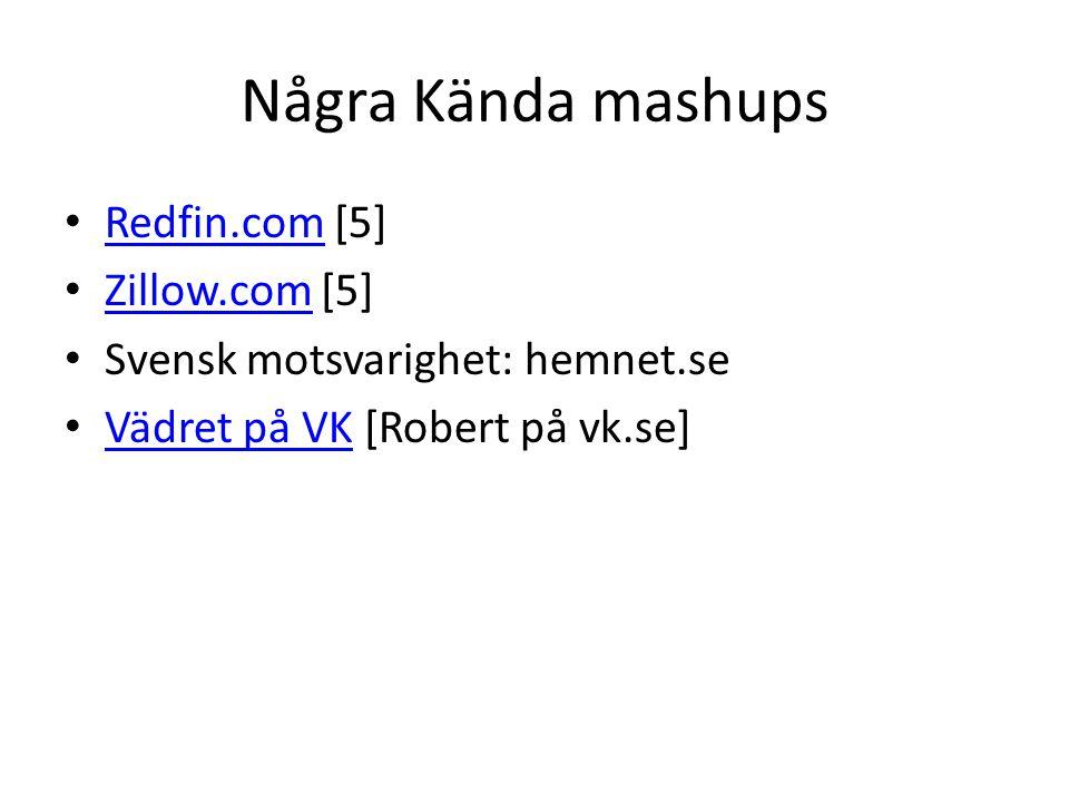 Några Kända mashups • Redfin.com [5] Redfin.com • Zillow.com [5] Zillow.com • Svensk motsvarighet: hemnet.se • Vädret på VK [Robert på vk.se] Vädret på VK