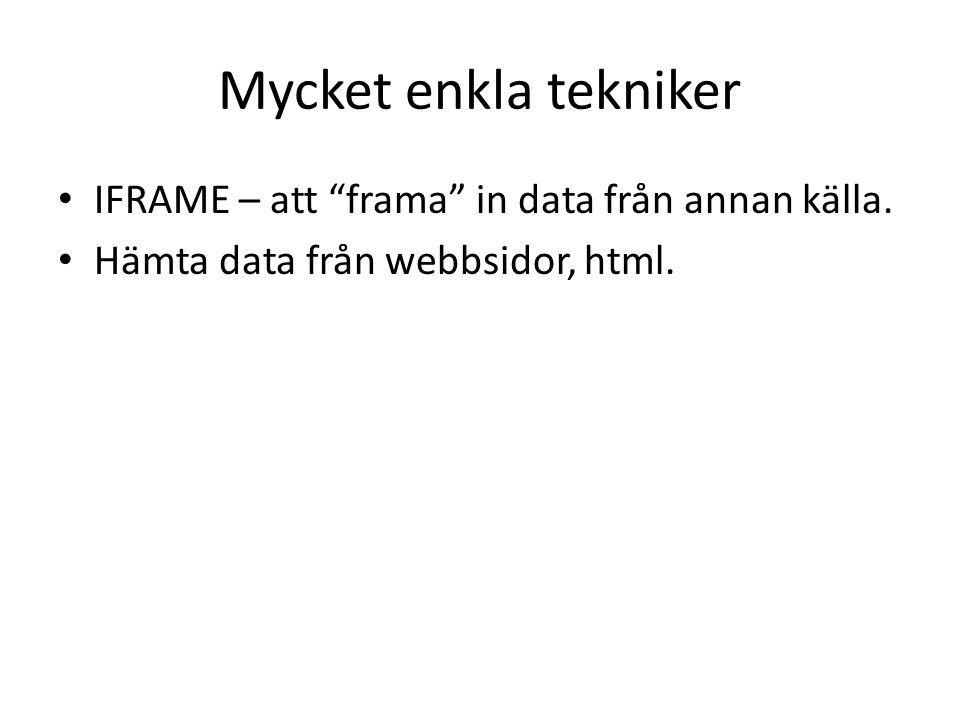 Mycket enkla tekniker • IFRAME – att frama in data från annan källa.