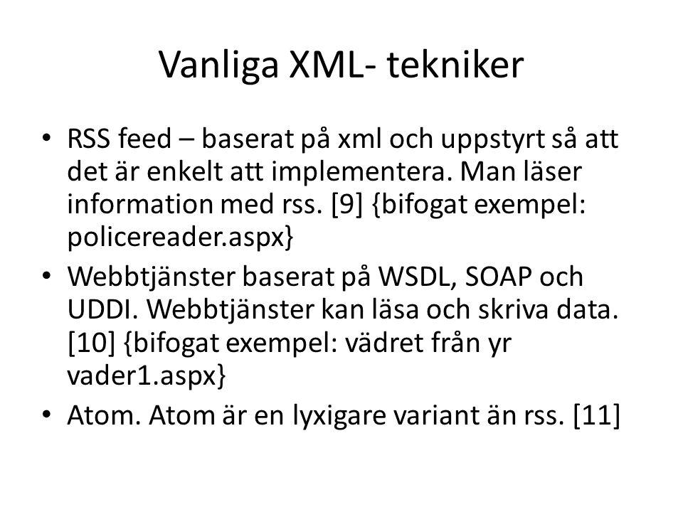 Vanliga XML- tekniker • RSS feed – baserat på xml och uppstyrt så att det är enkelt att implementera.