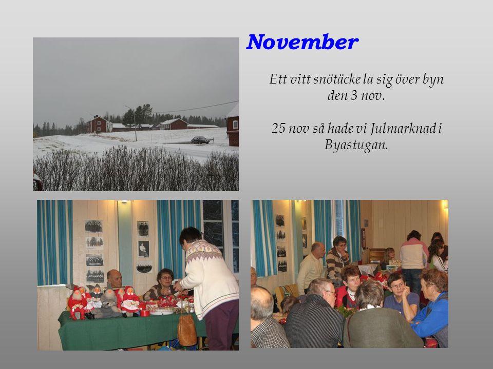 November Ett vitt snötäcke la sig över byn den 3 nov. 25 nov så hade vi Julmarknad i Byastugan.