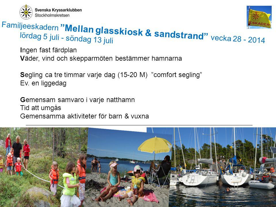 2 Glasskiosk-sandstrand2013 Ingen fast färdplan Väder, vind och skepparmöten bestämmer hamnarna Segling ca tre timmar varje dag (15-20 M) comfort segling Ev.