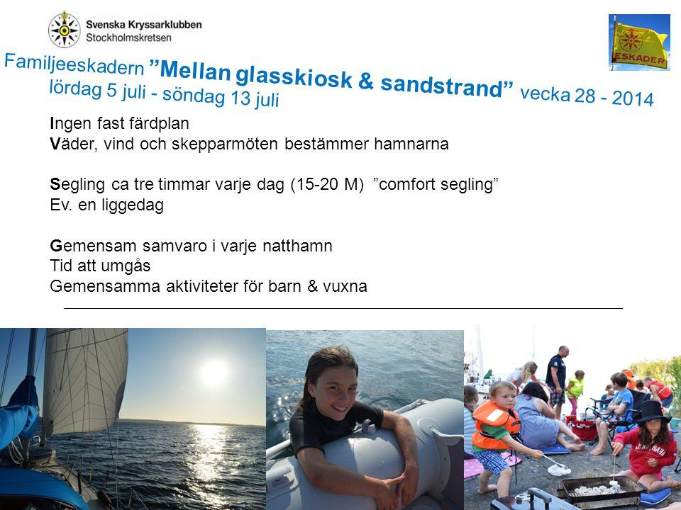 3 Glasskiosk-sandstrand2013 Ingen fast färdplan Väder, vind och skepparmöten bestämmer hamnarna Segling ca tre timmar varje dag (15-20 M) comfort segling Ev.