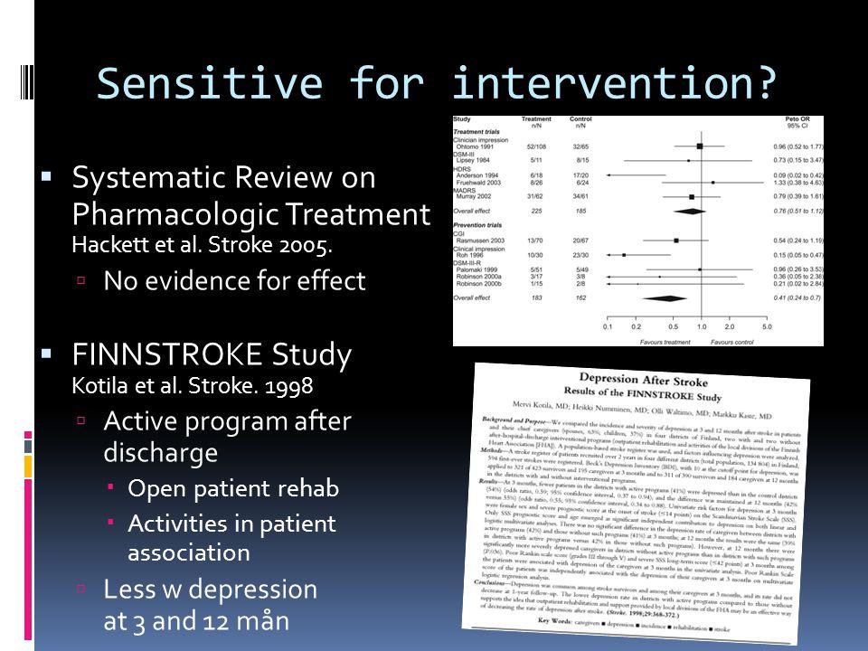 Sensitive for intervention?  Systematic Review on Pharmacologic Treatment Hackett et al. Stroke 2005.  No evidence for effect  FINNSTROKE Study Kot