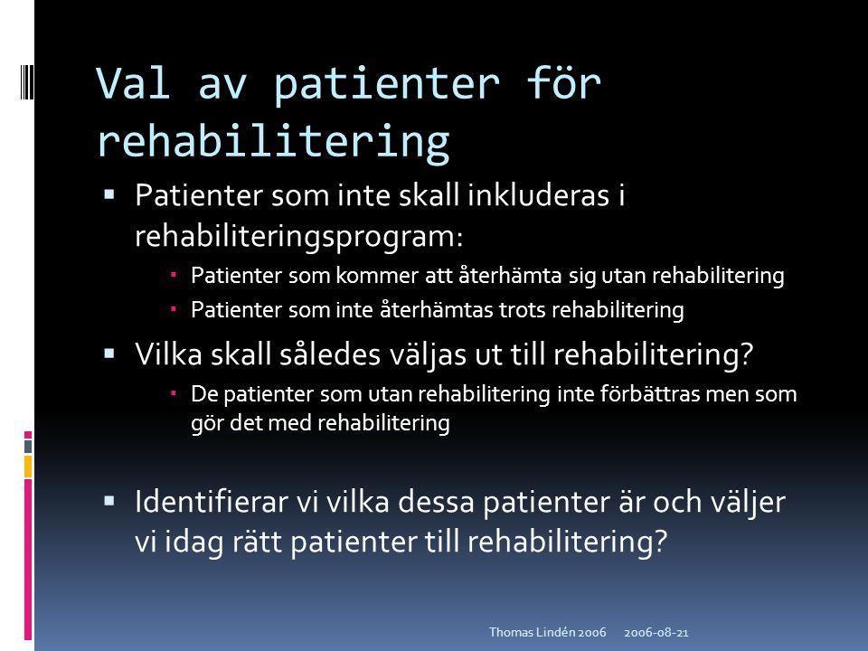 2006-08-21Thomas Lindén 2006 Val av patienter för rehabilitering  Patienter som inte skall inkluderas i rehabiliteringsprogram:  Patienter som komme