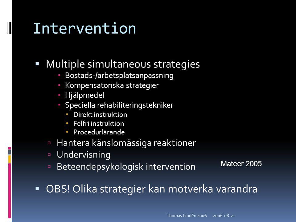 2006-08-21Thomas Lindén 2006 Intervention  Multiple simultaneous strategies  Bostads-/arbetsplatsanpassning  Kompensatoriska strategier  Hjälpmede