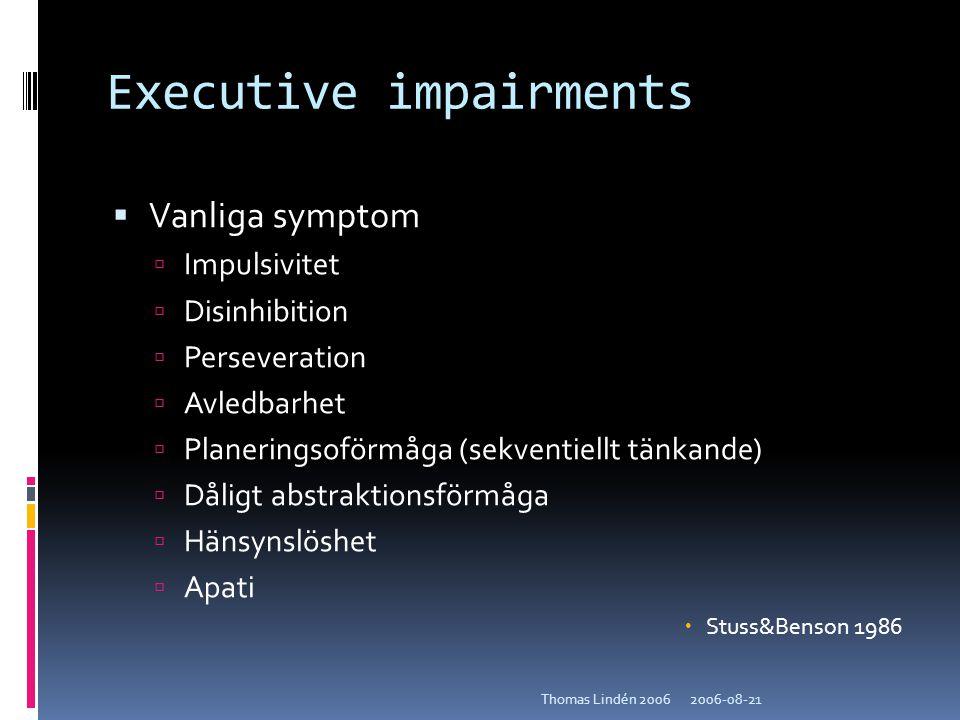 2006-08-21Thomas Lindén 2006 Executive impairments  Vanliga symptom  Impulsivitet  Disinhibition  Perseveration  Avledbarhet  Planeringsoförmåga
