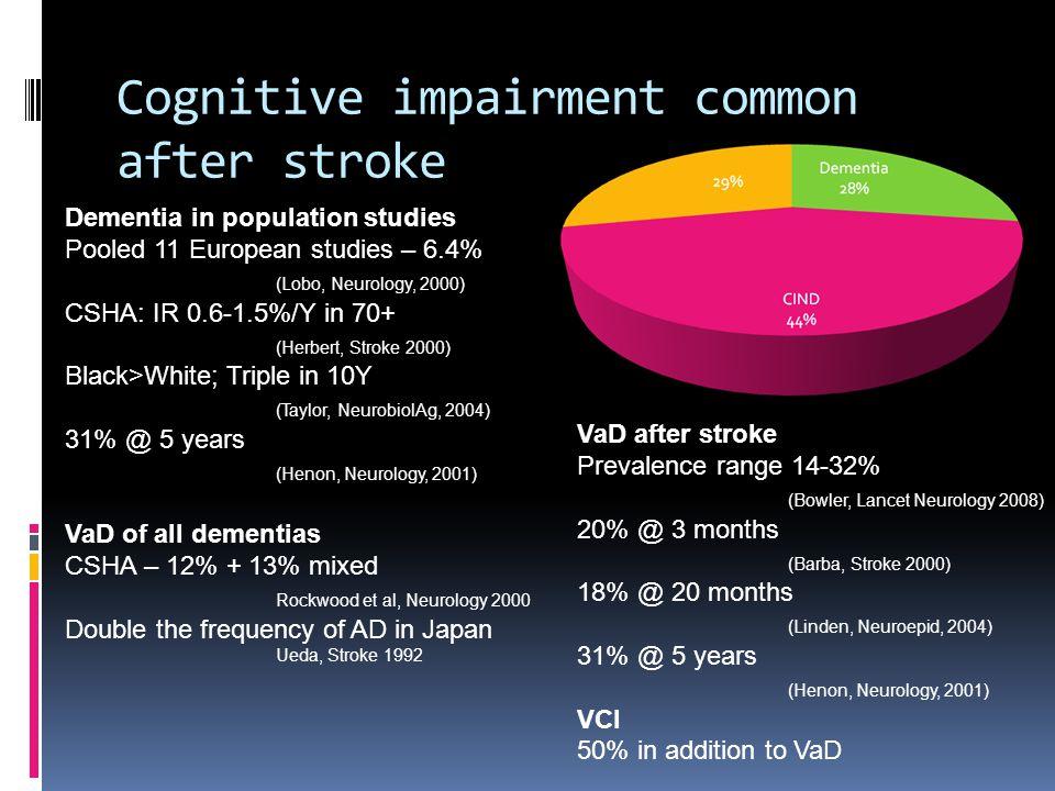 Cognitive impairment common after stroke VaD after stroke Prevalence range 14-32% (Bowler, Lancet Neurology 2008) 20% @ 3 months (Barba, Stroke 2000)
