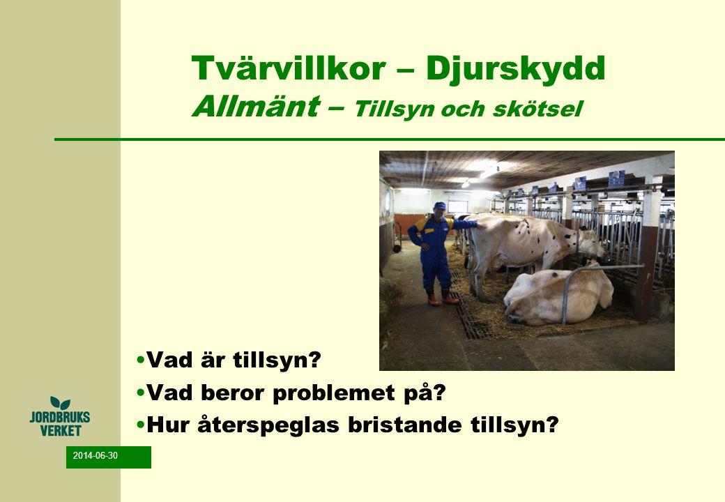 2014-06-30 Tvärvillkor – Djurskydd Allmänt – Tillsyn och skötsel Animaliedirektivet -Inspektion minst en gång om dagen -Inspektion så att varje lidande förhindras -Belysning för inspektion (när som helst) -Sjuka/skadade djur -vård utan dröjsmål -veterinär kontakt snarast möjligt (vid behov) -Sjukbox med ströbädd (vid behov)