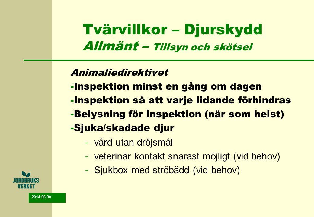2014-06-30 Tvärvillkor – Djurskydd Allmänt – Tillsyn och skötsel Animaliedirektivet -Inspektion minst en gång om dagen -Inspektion så att varje lidand