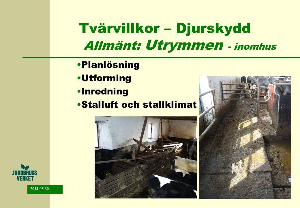 2014-06-30 Tvärvillkor – Djurskydd Allmänt: Utrymmen - utomhus Animaliedirektivet: Djur som inte förvaras i byggnader skall såvitt det är nödvändigt och möjligt, ges skydd mot dåligt väder, rovdjur samt hälsorisker .