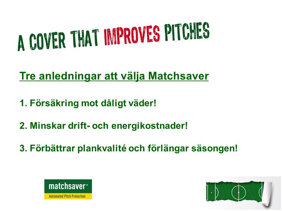 Tre anledningar att välja Matchsaver 1. Försäkring mot dåligt väder! 2. Minskar drift- och energikostnader! 3. Förbättrar plankvalité och förlängar sä