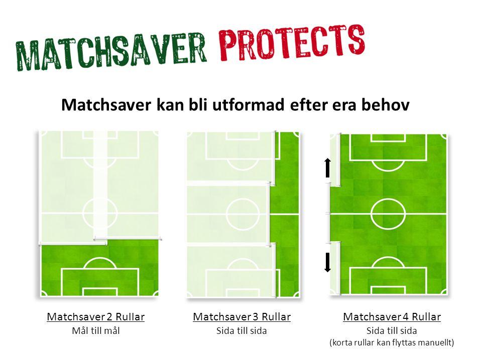 Matchsaver 2 Rullar Mål till mål Matchsaver kan bli utformad efter era behov Matchsaver 3 Rullar Sida till sida Matchsaver 4 Rullar Sida till sida (ko