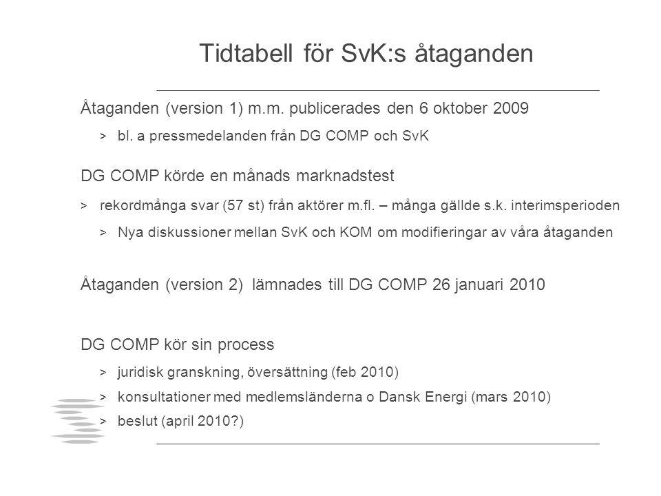 Tidtabell för SvK:s åtaganden Åtaganden (version 1) m.m. publicerades den 6 oktober 2009 > bl. a pressmedelanden från DG COMP och SvK DG COMP körde en